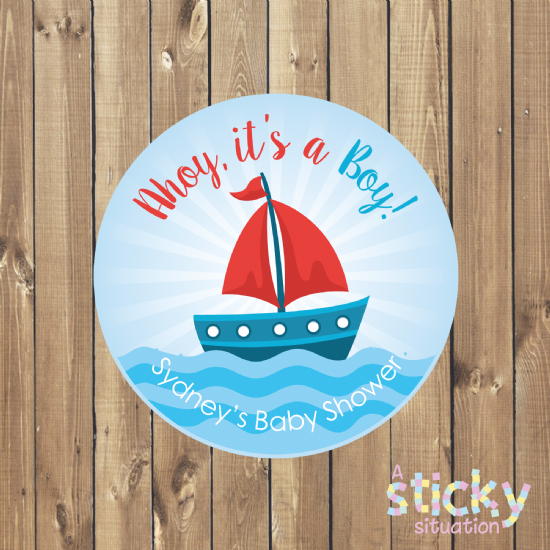 Personalised 'Ahoy! It's a Boy' Baby Shower Favour Stickers